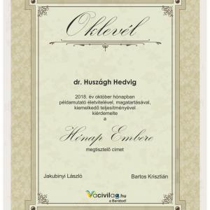 A Hónap Embere októberben: dr. Huszágh Hedvig