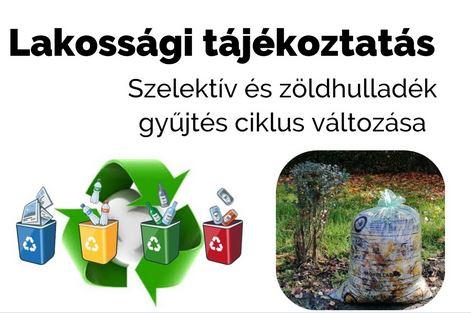 Kommunális és szelektív hulladék gyűjtési időpontok/utcajegyzék